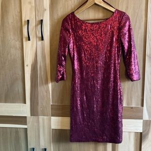 Red Sequin Low Back Cocktail Mini Dress